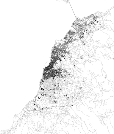Satellite map of Patras, is Greeces third-largest city and the regional capital of Western Greece. Map of streets and buildings of the town center. europe