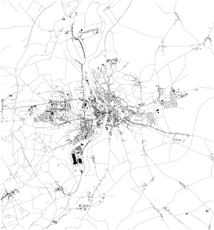 Satellite map of Pozna ?, is a city on the Warta River in west-central Poland. Map of streets and buildings of the town center. europe