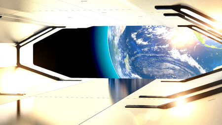 Hatch of a spaceship. Planet earth and conquest of space. Future and science fiction. Planet Earth seen from space, 3d rendering Stock Photo