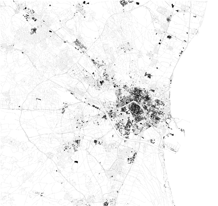 Satellite map of Valencia, the capital of the autonomous community of Valencia and the third largest city. Map of streets and buildings of the town center. europe Illustration