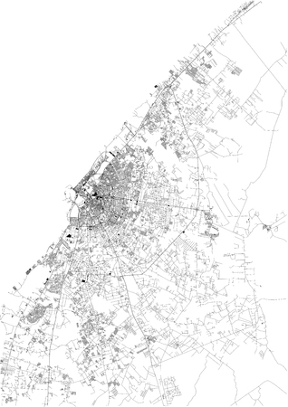 Satellite map of Benghazi, it is the second most populous city in Libya and the largest in Cyrenaica. Map of streets and buildings of the town center. Africa Illustration