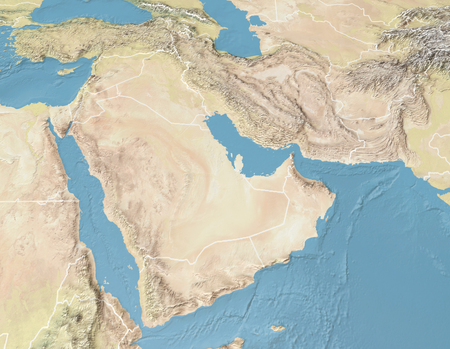 Satellite view of the Arabian Peninsula. Map. Saudi Arabia, Yemen, Oman, United Arab Emirates, Syria, Iran, Iraq, Qatar, Kuwait, Turkey. Elements of this image are furnished by Nasa. 3d render Stock Photo