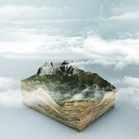 Cloud formation and rain. 3d section of a land. Mountains and valleys. Climate change. Global warming Stock Photo