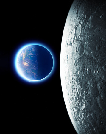 Moon and earth seen from space. Lunar surface and earth in the background. The earth seen from the moon. Stock Photo
