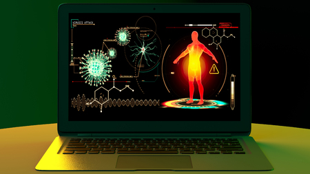 Human body attacked by viruses, scientific research. Genetic experimentation. Data reprocessing. Study program to eradicate the virus, experiment in the laboratory. Laptop computer. 3d render