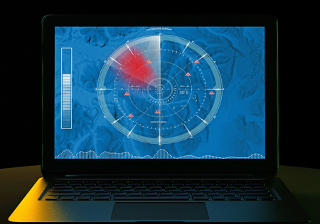 Radar, satellite view of land and sensitive military targets. Computer and map with reliefs, air terminal control. 3d render. Night view. HUD