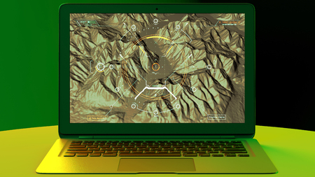 Satellite view of land, war operations, sci-fi, night vision with blue hues. Military target. Drone flying over an area. Military operation. Undercover operation. Mountain reliefs and plains. Hud, head-up display. Computer