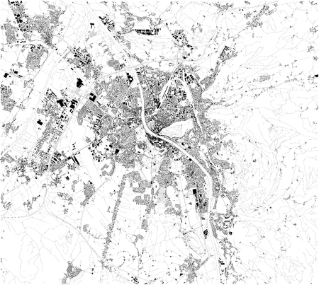 Satellite map of Salzburg. It is the fourth largest city in Austria and the capital of the Federal State of Salzburg. Map of streets and buildings of the town center.
