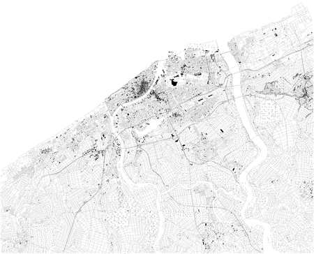 Satellite map of Niigata. It is the capital and the most populous city of Niigata Prefecture located in the Chubu region of Japan. Map of streets and buildings of the town center. Ilustração
