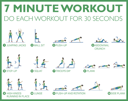Good health and fitness, just seven minutes of exercise can do a body good. Loose fat and gain muscle in 7 minutes a day. Body exercise that you can do every where Stock Vector - 124984927
