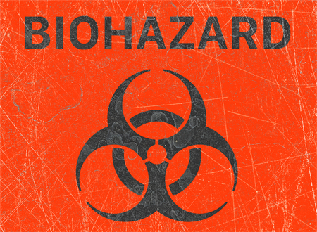 Signs of biological hazards, biohazards, referring to biological substances that pose a threat to the health of living organisms, primarily that of humans. Viruses and bacteria 스톡 콘텐츠 - 124984935