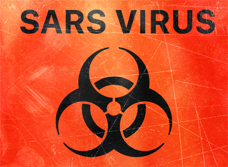 Sars virus. Signs of biological hazards, biohazards, referring to biological substances that pose a threat to the health of living organisms, primarily that of humans. Viruses and bacteria 스톡 콘텐츠 - 124984939