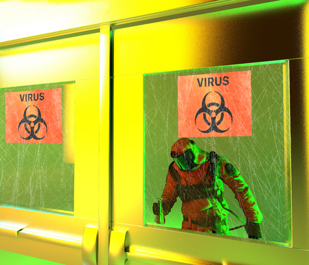 Signs of biological hazards, biohazards, referring to biological substances that pose a threat to the health of living organisms, primarily that of humans. Viruses and bacteria, 3d render. Protective suit Banco de Imagens