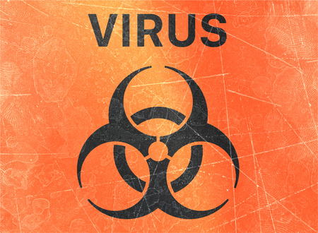 Signs of biological hazards, biohazards, referring to biological substances that pose a threat to the health of living organisms, primarily that of humans. Viruses and bacteria Banco de Imagens