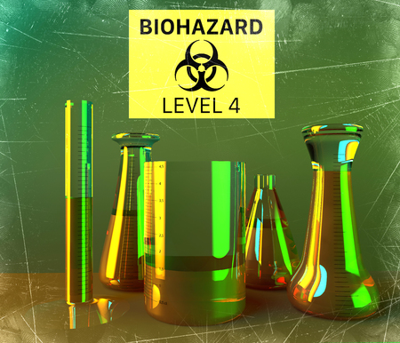 Laboratory and biohazards study, analysis and testing with containers for liquids on a table. Biological substances that pose a threat to the health of living organisms. Viruses and bacteria