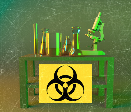 Laboratory and biohazards study, analysis with microscope and containers on a table. Biological substances that pose a threat to the health of living organisms. Viruses and bacteria