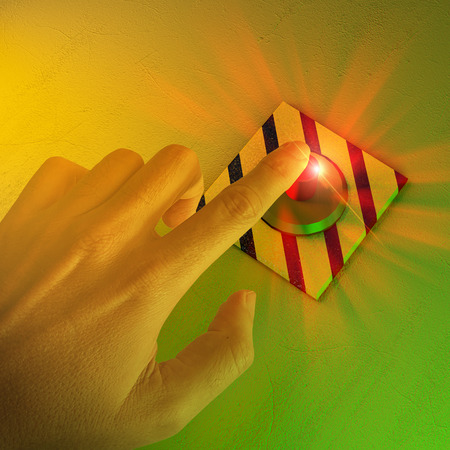 Finger pressing a button, general alarm, evacuation. Process interruption. Nuclear, atomic alarm. 3D render, 3d render
