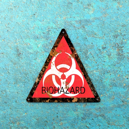 Warning for biological hazards, biohazards, referring to biological substances that pose a threat to the health of living organisms, primarily that of humans. Viruses and bacteria