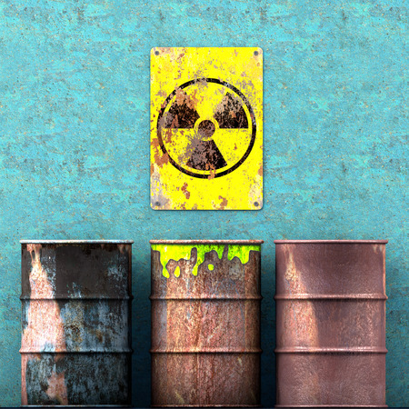 Storage radioactive waste, barrels resting on a wall, sign with radioactivity symbol, nuclear material. 3d render