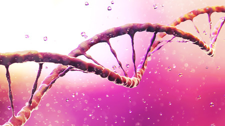 DNA, Deoxyribonucleic acid is a thread-like chain of nucleotides carrying the genetic instructions used in growth, development, reproduction of organisms and many viruses. DNA helix. 3d render