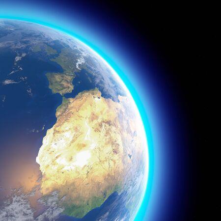 Mappa fisica del mondo, vista satellitare dell'Europa e del Nord Africa. Globo. Emisfero. Rilievi e oceani. rendering 3D. Archivio Fotografico