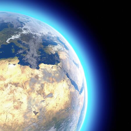 Physical map of the world, satellite view of Europe and North Africa. Globe. Hemisphere. Reliefs and oceans. 3d rendering. Elements of this image are furnished by NASA