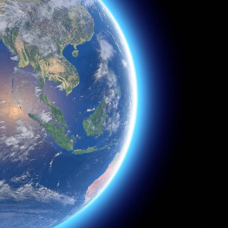 Satellite view of Southeast Asia, Indonesia. Globe. Hemisphere. Reliefs and oceans. 3d rendering. Elements of this image are furnished by NASA