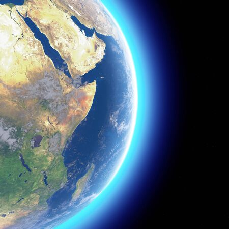 Physical map of the world, satellite view of the Middle East. Africa, Asia. Globe. Hemisphere. Reliefs and oceans. 3d rendering. Elements of this image are furnished by NASA