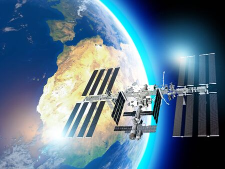 The International Space Station (ISS) is a space station, or a habitable artificial satellite, in low Earth orbit. Satellite view of the earth and ISS. Element of this images are furnished by Nasa. 3d render