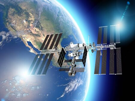 Die Internationale Raumstation (ISS) ist eine Raumstation oder ein bewohnbarer künstlicher Satellit in einer niedrigen Erdumlaufbahn. Satellitenansicht der Erde und der ISS. Elemente dieser Bilder werden von der Nasa bereitgestellt. 3D-Rendering