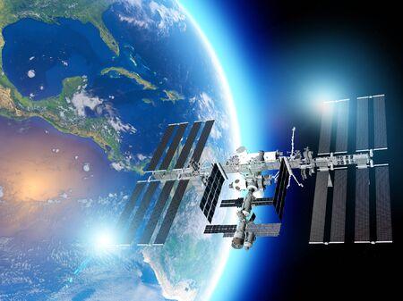 La Stazione Spaziale Internazionale (ISS) è una stazione spaziale, o un satellite artificiale abitabile, in orbita terrestre bassa. Vista satellitare della terra e della ISS. Gli elementi di queste immagini sono forniti dalla Nasa. rendering 3d