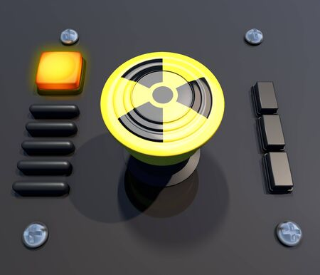 Button, general alarm, evacuation. Process interruption. Nuclear, atomic alarm. Nuclear weapons. War. 3D rendering