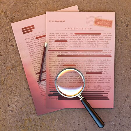 Top secret document, declassified, confidential information, secret text. Non-public information. Sheet of paper with classified information. Magnifying glass and pencil, 3d rendering Stock Photo