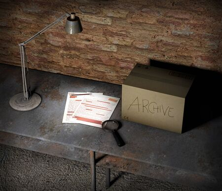 Basement table with box and top secret file. Table lamp, magnifying glass and pencil placed on the table. Important sheets and documents. Abandoned and forgotten documents. 3d render Stock Photo