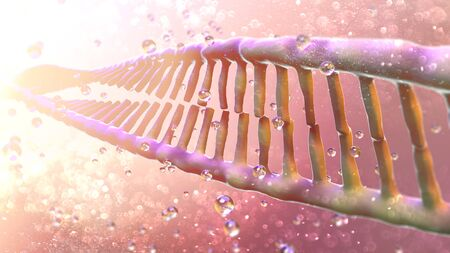 DNA, Deoxyribonucleic acid is a thread-like chain of nucleotides carrying genetic instructions, growth, functioning and reproduction of all known living organisms and many viruses. DNA helix, 3d render Banco de Imagens - 124985550