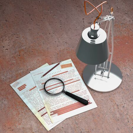 Top secret document, declassified, confidential information, secret text. Non-public information. Sheet of paper with classified information. Magnifying glass, table lamp and pencil