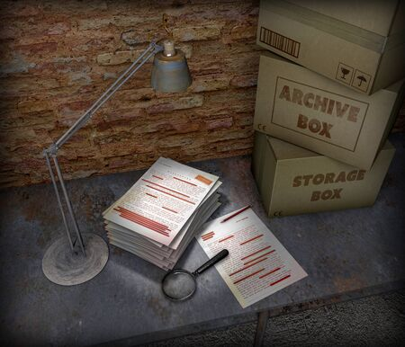 Basement table with boxes and top secret file. Table lamp, magnifying glass and pencil placed on the table. Important sheets and documents. Abandoned and forgotten documents. 3d render