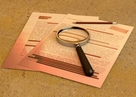 Top secret document, declassified, confidential information, secret text. Non-public information. Sheet of paper with classified information. Magnifying glass and pencil Stock Photo