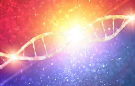 DNA, Deoxyribonucleic acid is a thread-like chain of nucleotides carrying genetic instructions, growth, functioning and reproduction of all known living organisms and many viruses. DNA helix, 3d render