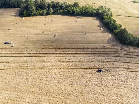 Nature and landscape, aerial view of fields with tractor and harvesting and pressing hay. Field with swaths ready to be transformed into round bales Banco de Imagens