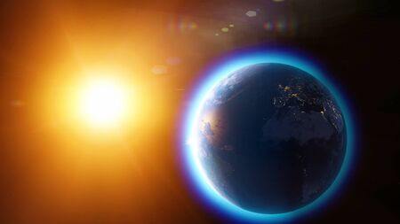 Global warming and climate change, satellite view of the earth and the sun. Space and stars atmosphere, ozone hole. Reduction of the ozone layer. 3d rendering