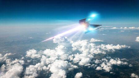 Space ship traveling in the clouds. Ufo hurtling at high speed in the earthly skies. 3d render Stock fotó