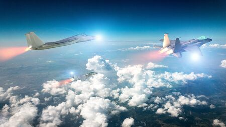 F-15 squadron flying in the clouds. F-15 eagle models. 3d render. Military aircraft in flight Stock Photo