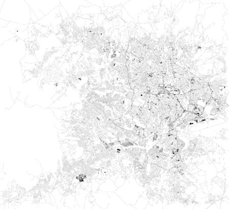 Satellite map of Addis Ababa, the capital and largest city of Ethiopia. Africa. Map of streets and buildings of the town center