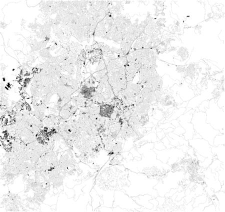 Satellite map of Belo Horizonte, Brazil. South America. Map of streets and buildings of the town center.