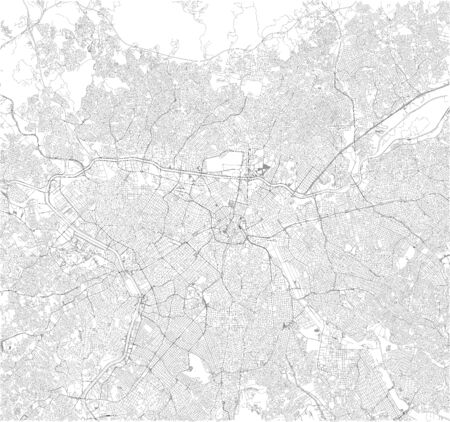 Satellite map of São Paulo, Sao Paulo, it is the most populous city in Brazil. South America. Map of streets of the town center Ilustração