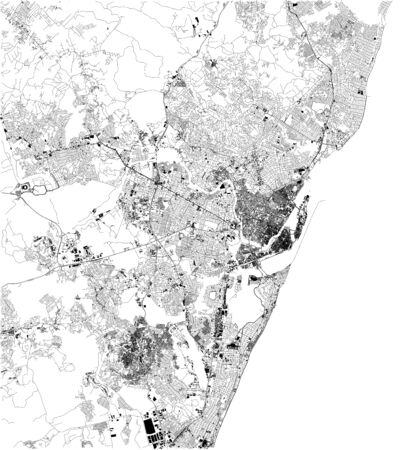 Recife satellite map, it is the fourth largest urban agglomeration in Brazil. Map of streets and buildings of the town center