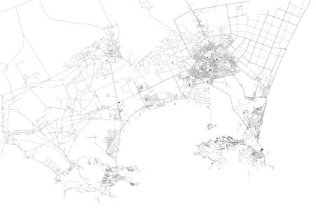 Satellite map of Aden, it is a city of Yemen, Aden's natural harbor is in the crater of a dormant volcano. Map of streets and buildings of the town center