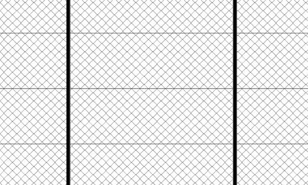 Front view of fence with wire mesh, black and white. White background and drawing in black. Protection, private place, no access. Protected area