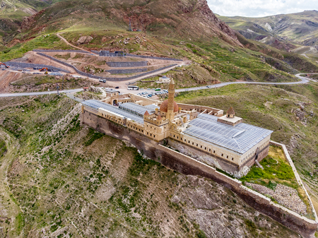 Aerial view of Ishak Pasha Palace is a semi-ruined palace and administrative complex located in the Dogubeyazit, Agri province of eastern Turkey. Ottoman, Persian, and Armenian architectural style Stock Photo - 128623755